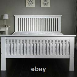 New King Size 5ft White Finish Wooden Bed Frame With Mattress Options