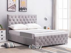 Ottoman Storage Bed Fabric Silver, Black, Crushed Velvet, Single, Double & King