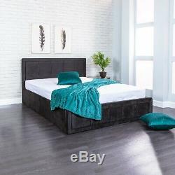Ottoman Storage Gas Lift Up Double & King Size Fabric Bed Memory Foam Mattress