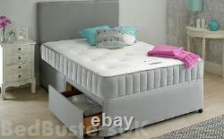 POCKET MEMORY FOAM GREY FABRIC DIVAN BED & HEADBORD SIZE 3FT 4FT6 Double 5FT