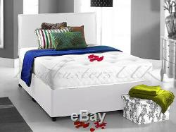 POCKET SPRUNG MEMORY FOAM LEATHER DIVAN BED & HEADBORD SIZE 3FT 4FT6 Double 5FT