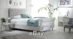 PREMIUM CHESTERFIELD SLEIGH BED FRAME WITH Matching Fabric Button MADE IN UK