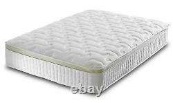 Pillow Top Mattress Gold Border Pocket Sprung Single Double King Size Mattress