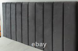 Plush Velvet Fabric Upholstered Bed Frame with Slats 4ft6 Double 5ft King Size