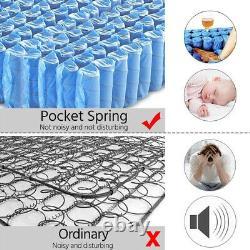 Pocket Sprung Mattress Memory Foam Quilted Single 4ft6 Double Mattress 25CM UK