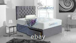 SUEDE MEMORY DIVAN BED SET, MATTRESS IBEX HEADBOARD 3FT 4FT6 Double 5FT King