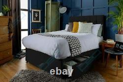 SUEDE MEMORY FOAM DIVAN BED SET WITH MATTRESS HEADBOARD 3FT 4FT6 Double 5FT King