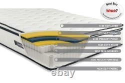 Sleep Soul Space Super King 180cm 6FT Mattress Pillow Top Memory Foam Pocket