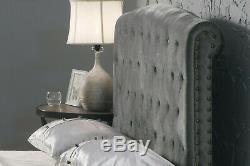Sleigh Rochelle Upholstered Velvet Bed Frame With Memory Foam Mattress Option