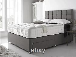Solid Quality Grey Suede Pocket Memory Foam Divan Bed Set & Mattress Headboard