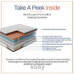 StarNap Hybrid 23cm Firm Mattress Pocket Spring Memory Foam Breathable