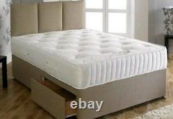 Tencel 1000 Pocket Sprung Memory Foam Mattress Divan Bed + 2 Drawers, 4FT6 DBL