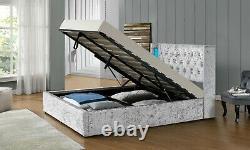Wingback LED Light Ottoman Storage Silver Crush Velvet Bed Double King Bedroom