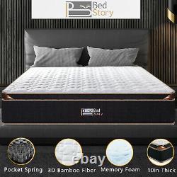 Bedstory 10in Pocket Sprung Mémoire Mousse Hybrid Matelas De Luxe Unique En Boîte