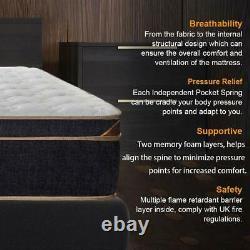 Bedstory Matelas Mémoire Foam Pocket Spring Double 4ft6 Bamboo Fiber Cover
