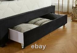 Chesterfield Velvet 3 Tiroir Rangement Bed & Memory Foam Mattress, Double & King