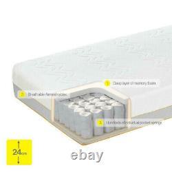 Dormeo Hybrid Mattress Kingsize 150x200x24cm Memory Foam Pocket Springs Gratuit P & P