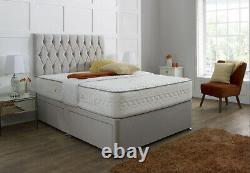 Fabrique Suède Chesterfield Divan Bed Set + Memory Mattress 4ft6 Double Roi 5ft