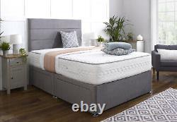 Fabrique Suède Match Divan Bed Set + Memory Spring Mattress 4ft6 Double Roi 5ft