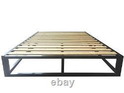 Grenier Moderne Ou Loft Basse Plate-forme Black Metal Cadre De Lit Simple, Double, Kingsize