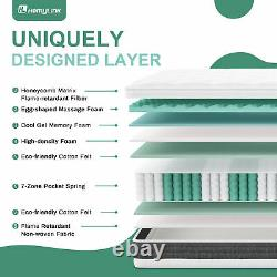Homylink Memory Foam Mattress Pocket Sprung Pine Cool Gel 3d Respirant 7-zone