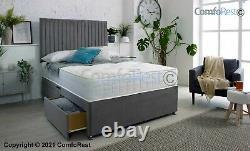 Mémoire Foam Divan Bed Set, Mattress, Malia Headboard 3ft 4ft6 Double 5ft King