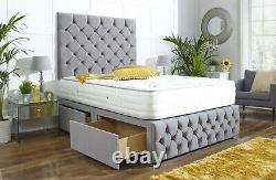 Naples Suede Chesterfield Divan Bed Set + Memory Mattress 4ft6 Double Roi 5ft