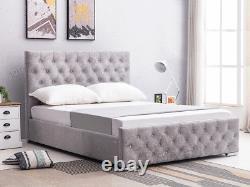 Ottoman Storage Bed Fabric Argent, Noir, Velours Écrasé, Single, Double & King