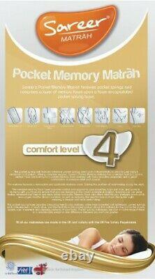 Pocket Memory Mousse Matelas Hypo Allergène Toutes Tailles Tailles Standard Sareer