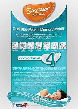 Sareer Cool Blue 1000 Pocket Sprung Matelas Mousse Mémoire Et Gratuit Pillows