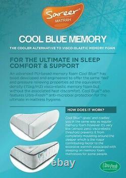 Sareer Cool Blue Pocket Memory Foam Matrah Matelas 5ft Kingsize Made In Uk