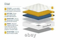 Sleep Soul Cloud Double 135cm 4ft6 Mattress Pillow Top Memory Foam Pocket