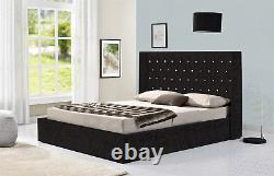 Wingback Crushed Velvet Or Chenille Ottoman Storage Bed Double & King Size