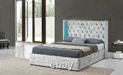 Wingback Led Light Ottoman Storage Silver Crush Velvet Bed Double King Chambre À Coucher